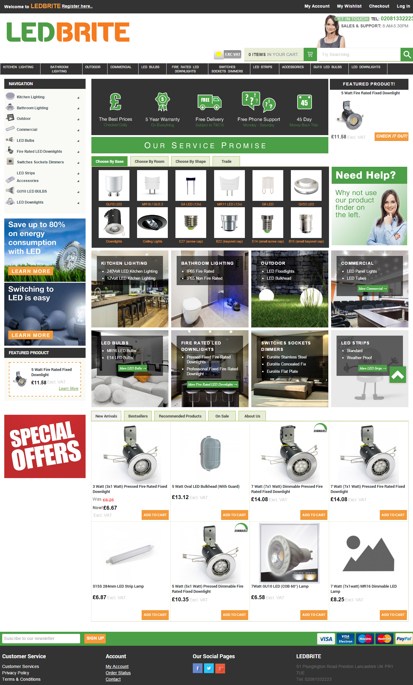 LEDBRITE Magento commerce website design