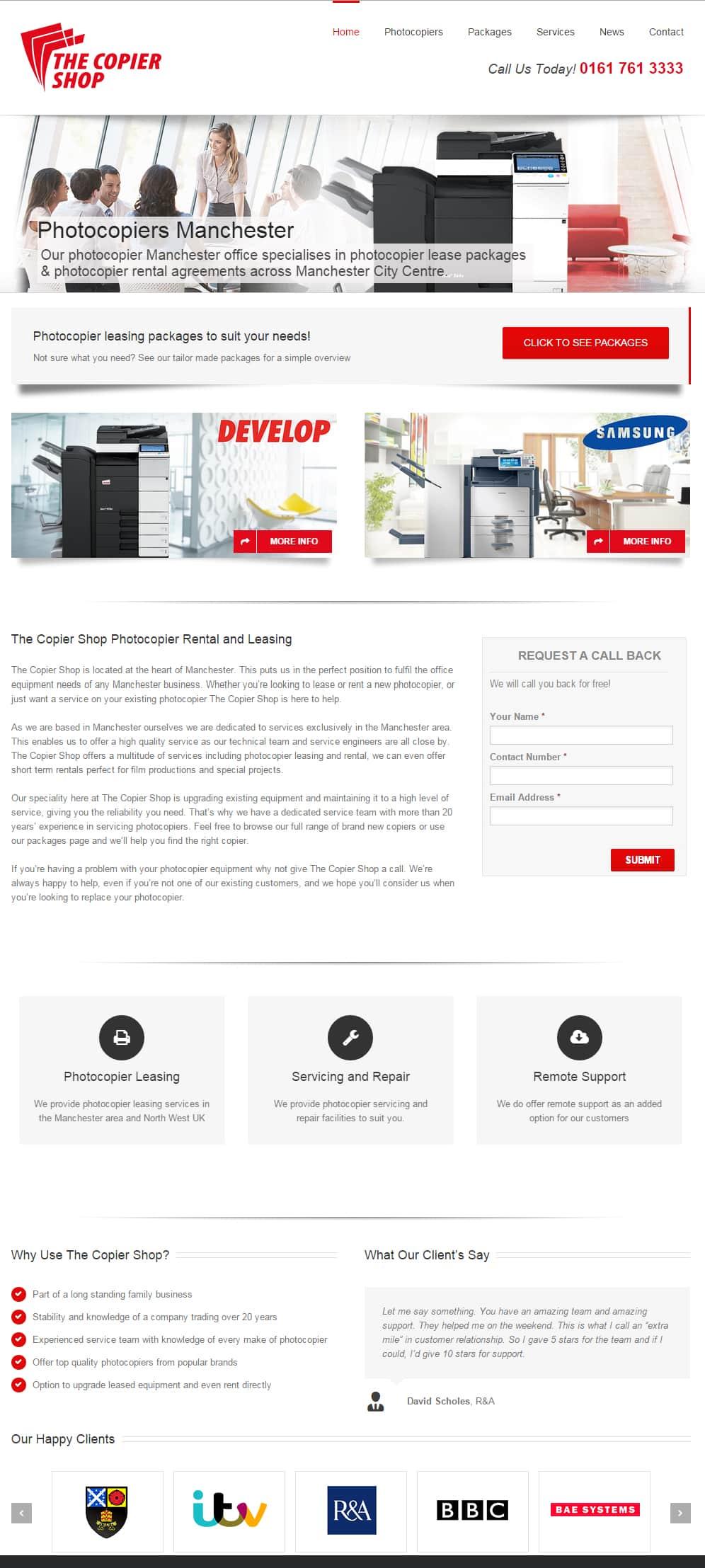 The Copier SHop WordPress website design