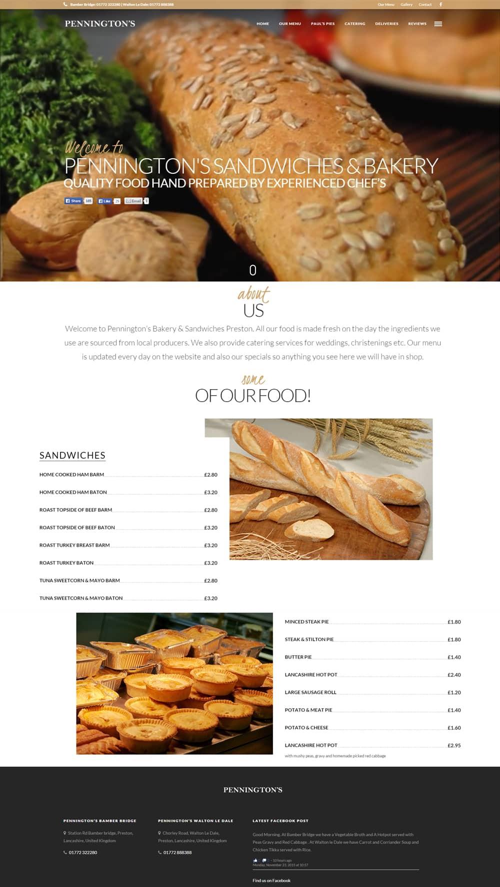 penningtons bakery WordPress Web Design