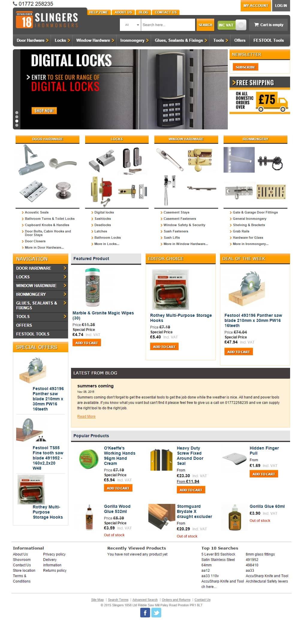 slingers iron mongers magento ecommerce website